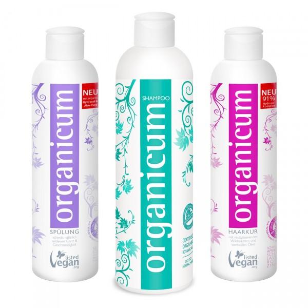 Komplett-Set - organicum Shampoo, Spülung und Haarkur